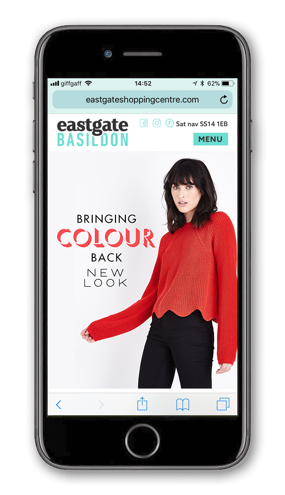 Eastgate website on a phone