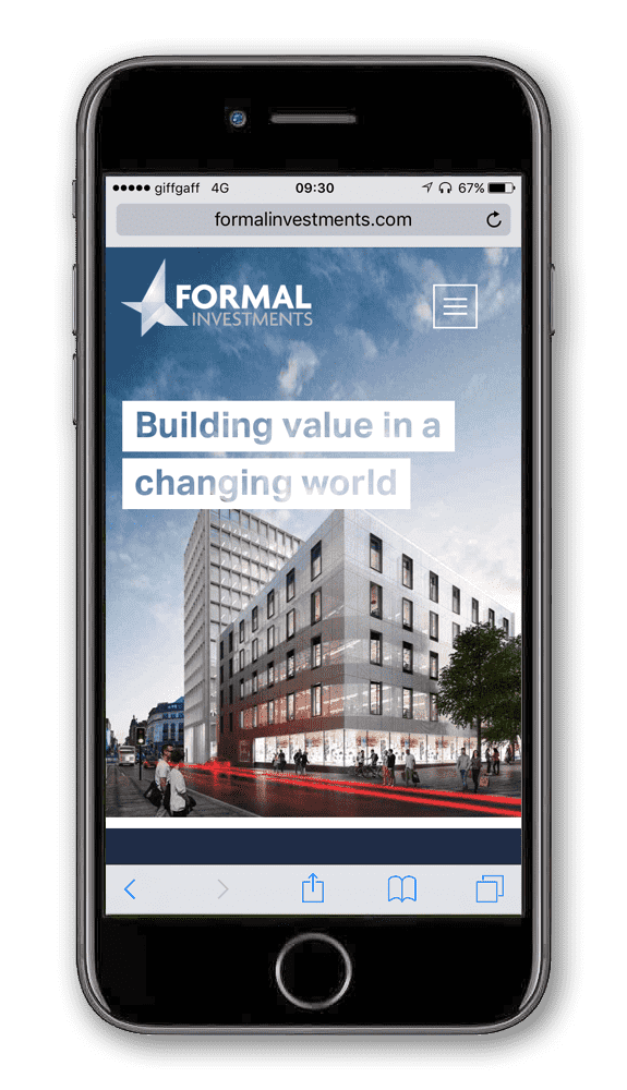 Formal Investments website on a phone